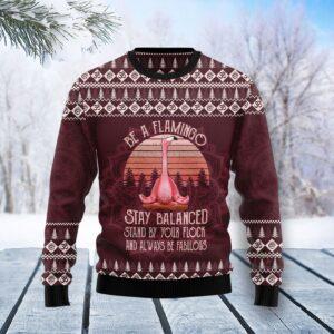Flamingo Yoga Ugly Christmas Sweater