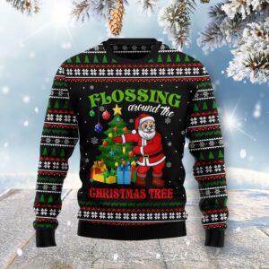 Flossing Around The Christmas Tree Ugly Christmas Sweater