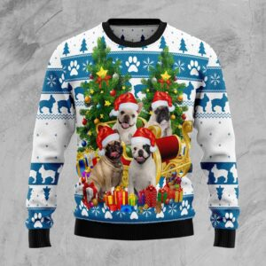 French Bulldog Greeting Ugly Christmas Sweater