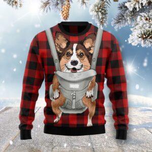 Front Carrier Dog Pembroke Welsh Corgi Ugly Christmas Sweater