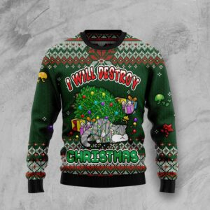 Funny Cat I Will Destroy Christmas Ugly Christmas Sweater