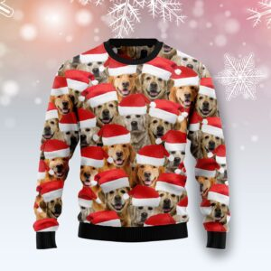 Golden Retriever Group Awesome Ugly Christmas Sweater