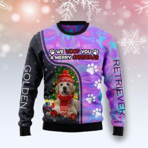 Golden Retriever Hologram Color Ugly Christmas Sweater