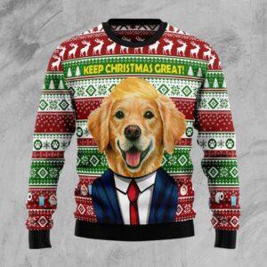 Golden Retriever Keep Christmas Great Again Ugly Christmas Sweater