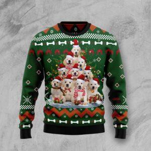 Golden Retriever Pine Tree Ugly Christmas Sweater