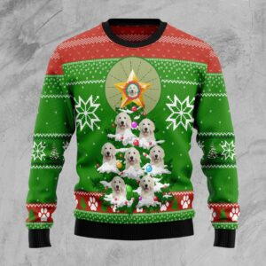 Golden Retriever Pine Ugly Christmas Sweater