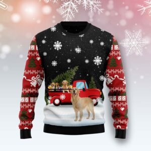 Golden Retriever Red Truck Ugly Christmas Sweater