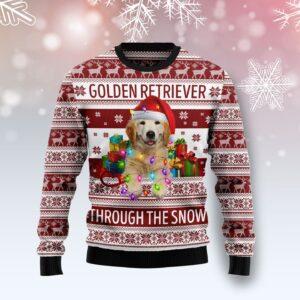 Golden Retriever Through The Snow Ugly Christmas Sweater