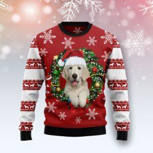 Golden Retriever Wearing Santa's Hat Ugly Christmas Sweater