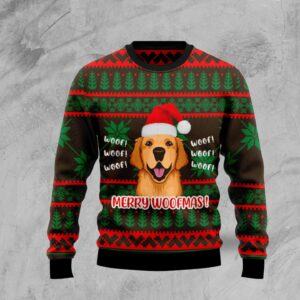 Golden Retriever Woofmas Ugly Christmas Sweater
