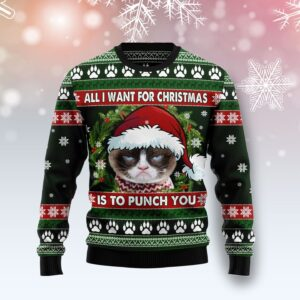 Grumpy Cat Punch You Ugly Christmas Sweater
