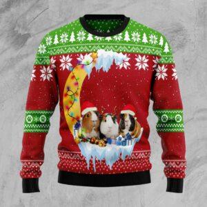 Guinea Pig Love Moon Xmas Ugly Christmas Sweater