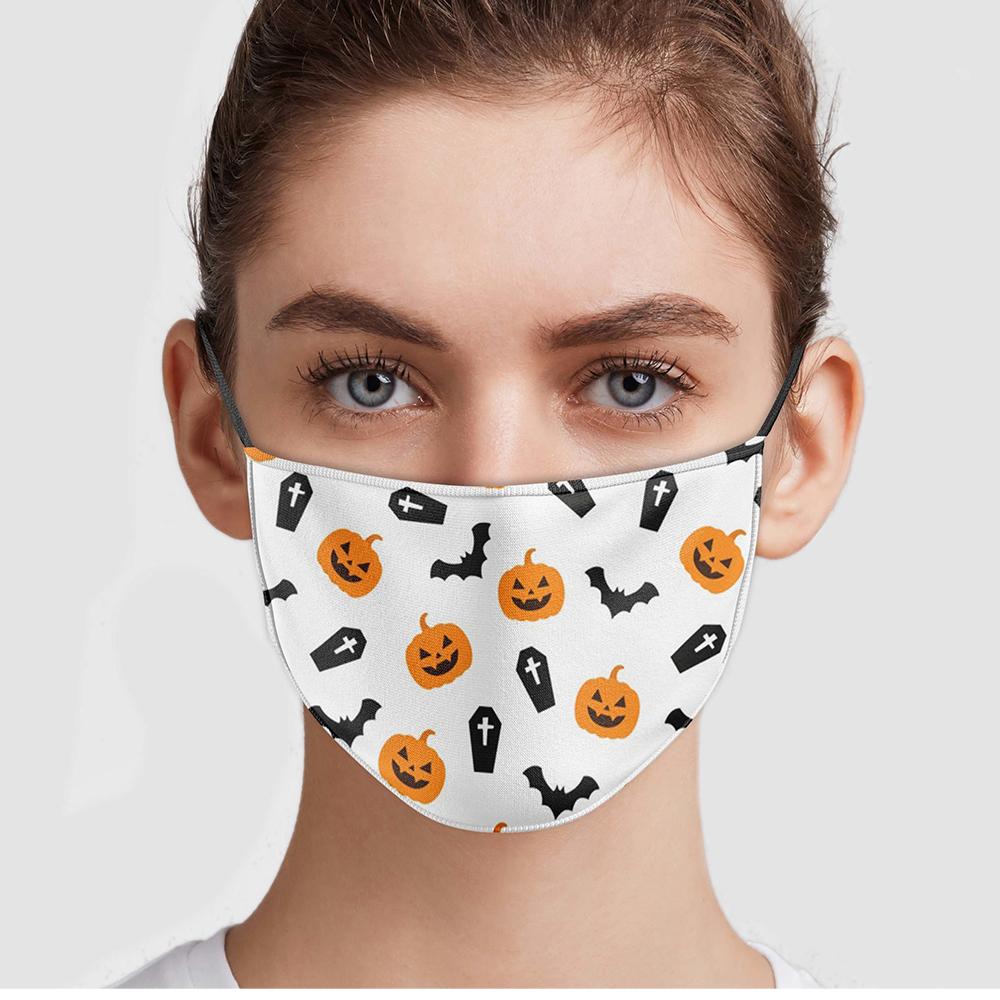 Halloween Disposable Pumpkins And Bats Face Mask