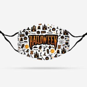 Halloween Pattern White Face Mask