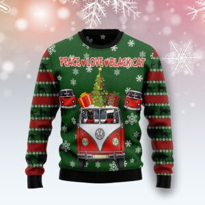 Hippie Black Cat Ugly Christmas Sweater