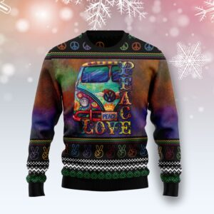 Hippie Peace Love G Ugly Christmas Sweater