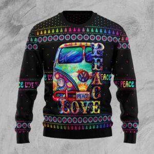 Hippie Peace Love Ugly Christmas Sweater