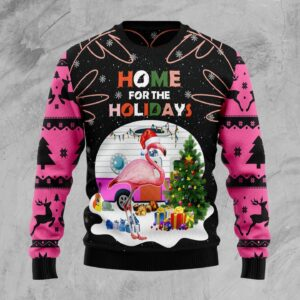 Home For The Holidays Flamingo Ugly Christmas Sweater