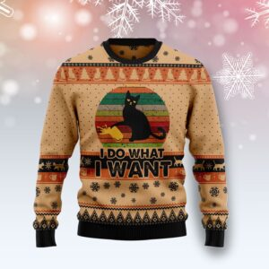 I Do What A Want Black Cat Ugly Christmas Sweater