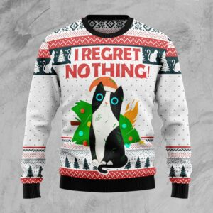 I Regret Nothing Cat Ugly Christmas Sweater