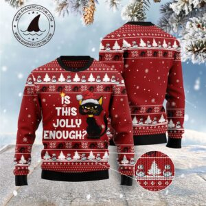 Is This Jolly Enough Black Cat Ugly Christmas Sweater