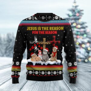 Jesus Is The Reason For The Season Cat Ugly Christmas Sweater