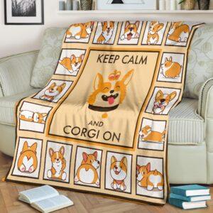 Keep Calm And Corgi On Fleece Blanket