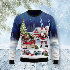 Labrador Retriever Santa Sled Ugly Christmas Sweater