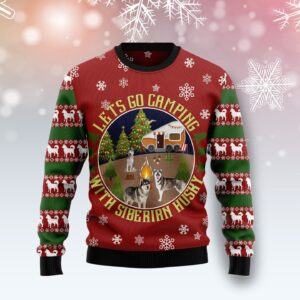 Let's Go Camping With Siberian Husky Ugly Christmas Sweater