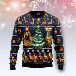 Love Giraffe Ugly Christmas Sweater