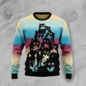 Lovely Black Cat Ugly Christmas Sweater