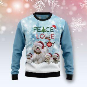 Maltese Peace Love Joy Ugly Sweater Ugly Christmas Sweater