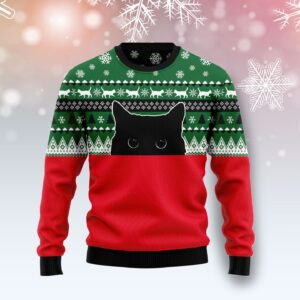 Meow Meow Black Cat Ugly Christmas Sweater