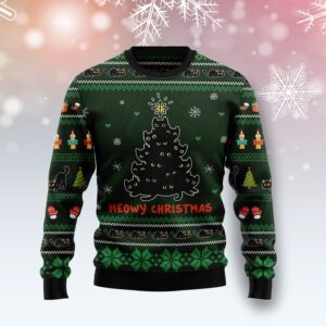 Meowy Christmas Black Cat Ugly Christmas Sweater