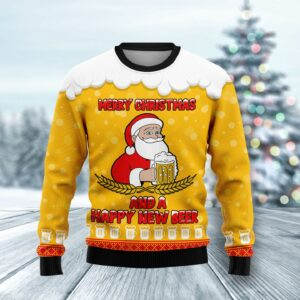 Merry Christmas And A Happy New Beer Ugly Christmas Sweater