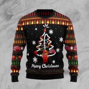 Merry Christmas Firefighter Ugly Christmas Sweater