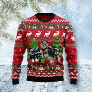 Miniature Schnauzer Family Snow Ugly Christmas Sweater