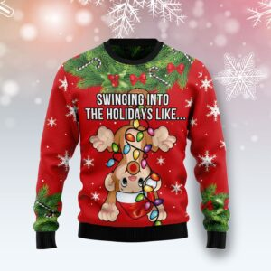 Monkey Swing Into The Holiday Ugly Christmas Sweater