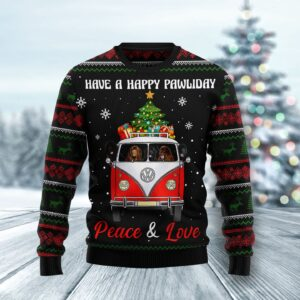 Newfoundland Dogs Carrying Gift Christmas On The Red Car Ugly Christmas Sweater