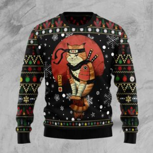 Ninja Cat Ugly Christmas Sweater