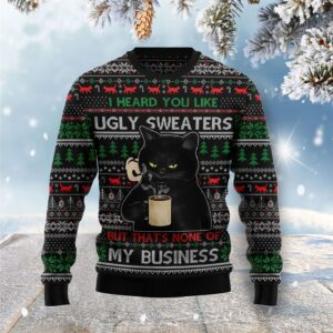 None Of My Business Black Cat Ugly Christmas Sweater