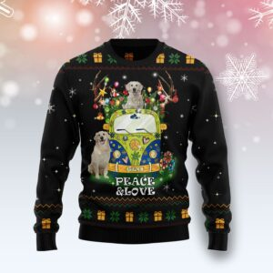 Peace Love Golden Retriever Ugly Christmas Sweater