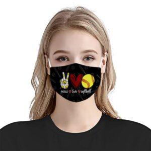 Peace Love Softball Face Mask