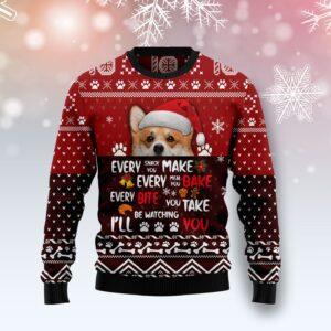 Pembroke Welsh Corgi Will Be Watching You Ugly Christmas Sweater