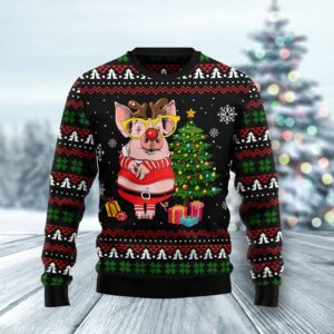 Pig Gorgeous Reindeer Ugly Christmas Sweater