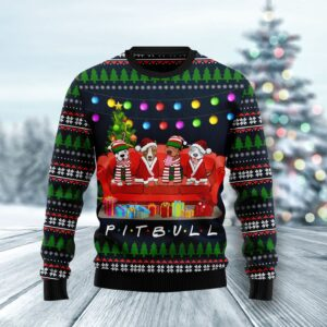 Pit Bull Friends On Red Sofa Ugly Christmas Sweater