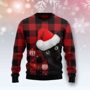 Plaid Pattern Black Cat Ugly Christmas Sweater