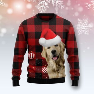Plaid Pattern Golden Retriever Ugly Christmas Sweater