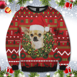 Playful Chihuahua Merry Christmas All Over Print Ugly Christmas Sweater