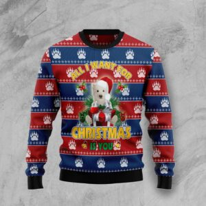 Polar Bear All I Want Christmas Ugly Christmas Sweater